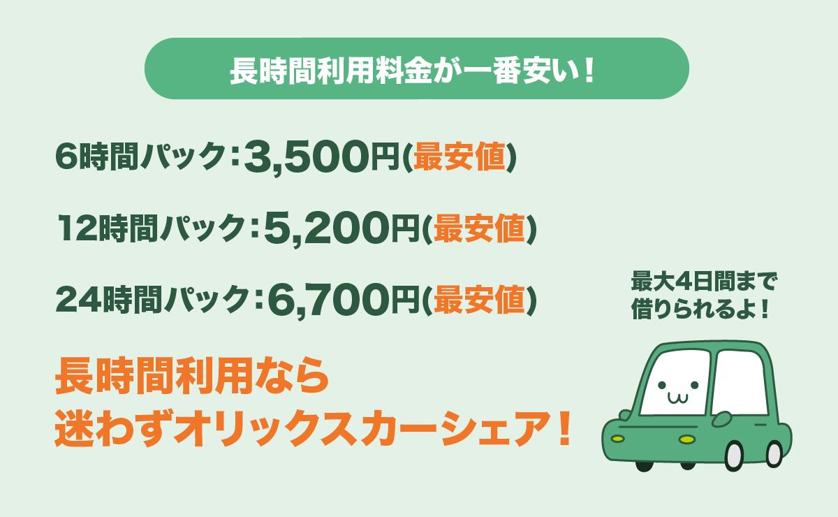 オリックスカーシェアは長時間の利用料金が最安値!